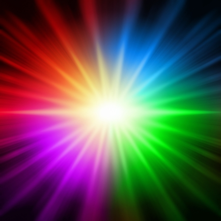 lustrous: abstract rainbow colorful rays lights like star over black background Stock Photo