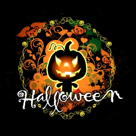 illustration with text halloween and pumpkin monster illustration