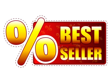 price hit: best seller - red and yellow label with text and percentage sign