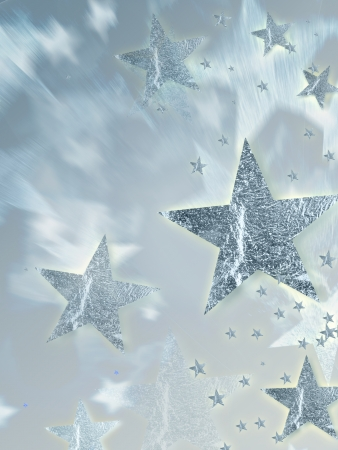 shining silver stars with radiance over grey background, abstract christmas card photo