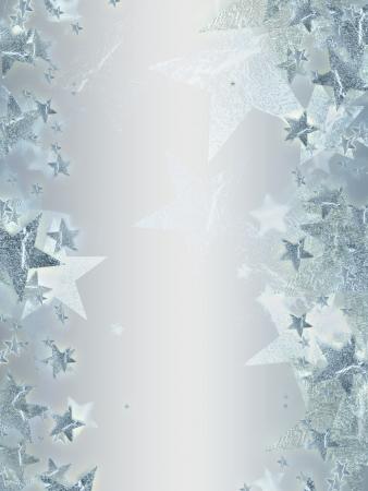 étoiles brillantes argentées sur fond gris, résumé carte de Noël