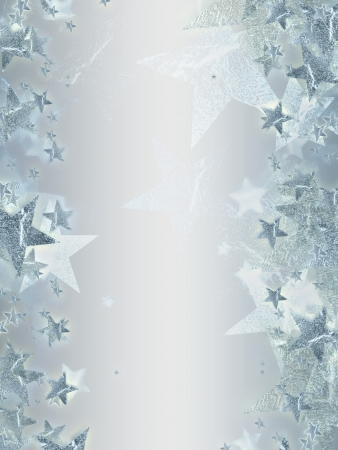 shining silver stars over grey background, abstract christmas card Stock Photo - 16035554