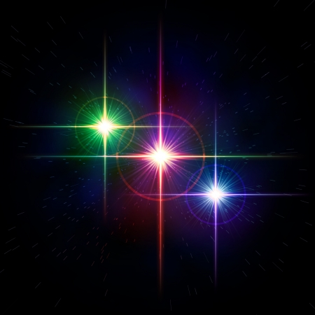 rainbow sphere: abstract lens flare, colorful stars with rays and lights over dark background