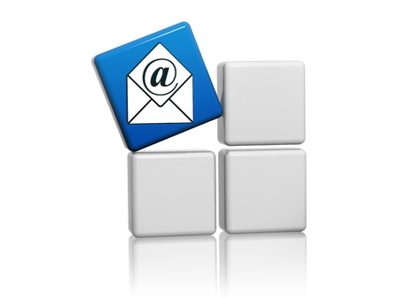 3d blue mail sign with envelope on grey boxes Stock Photo - 16035542