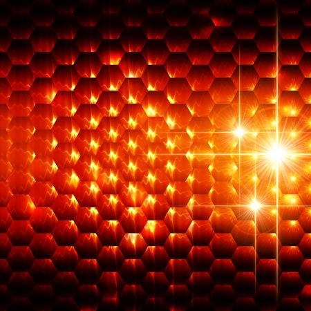 hexahedral: abstract orange background with hexagons and shining lights Stock Photo