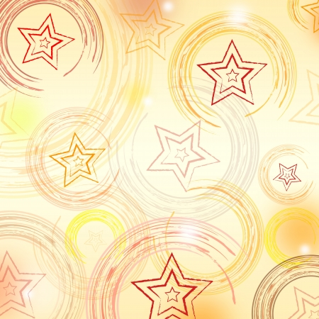 retro background with illustrated stars and abstract circles in beige photo