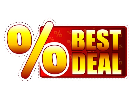 best price: best deal - red and yellow label with text and percentage sign