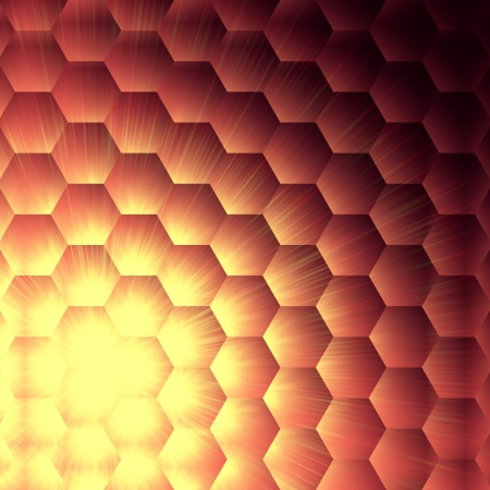 hexahedral: abstract violet background with hexagons and shining yellow lights Stock Photo