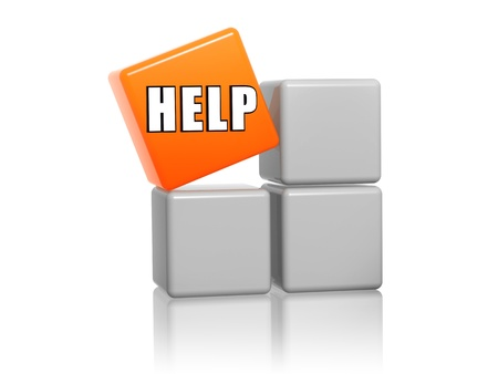 word help - 3d orange cube with text on grey boxes Stock Photo - 16035560