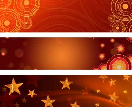 christmas motif: abstract red and brown backgrounds with illustrated stars and circles, christmas banners Stock Photo