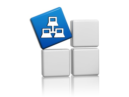 3d blue cube with computer network icon on grey boxes Stock Photo - 16035561