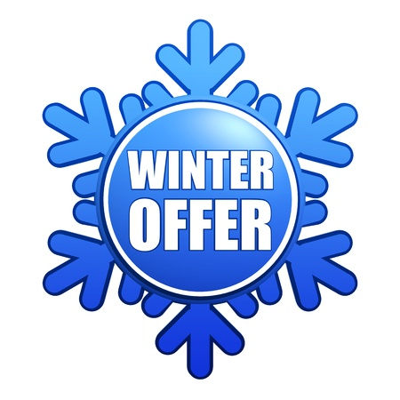 text winter offer - advertising label with snowflake like badge photo