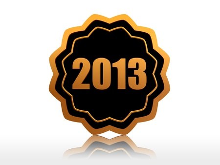 year 2013 - 3d golden starlike label with text Stock Photo - 16035564