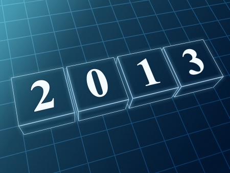 text year 2013 in 3d blue glass boxes with white figures like ciphers Stock Photo - 16035571