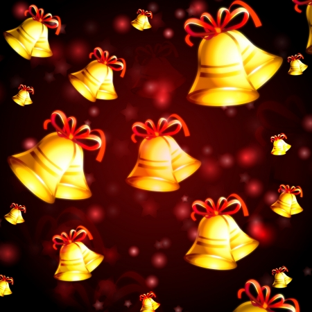 abstract red background with golden bells, christmas card photo