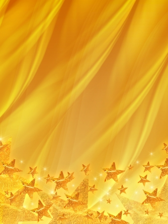 shining golden stars over yellow background, abstract christmas card photo