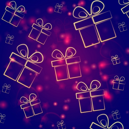abstract violet background with illustrated golden presents boxes, christmas card Stock Photo - 16229060