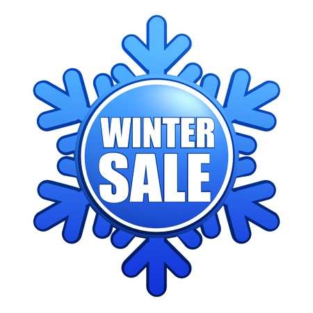 text winter sale - advertising label with snowflake like badge Stock Photo - 16229000