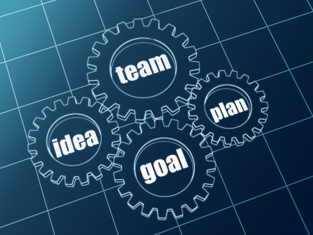 idea, team, plan, goal - words in 3d blue gearwheels photo