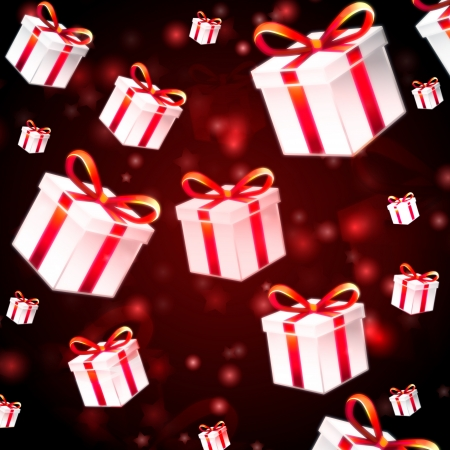 abstract red background with white presents boxes, christmas card photo