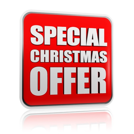 special christmas offer 3d red banner with white text, business concept Stock Photo - 16229001