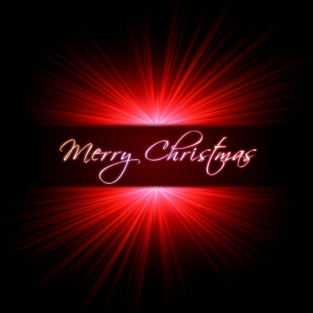 irradiate: merry christmas with red light rays over dark background