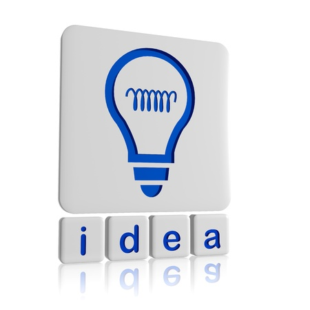 resourceful: 3d tablets with text idea and light bulb signs, business concept Stock Photo