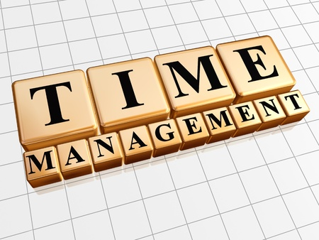 text time management in 3d golden cubes with black letters, business concept photo