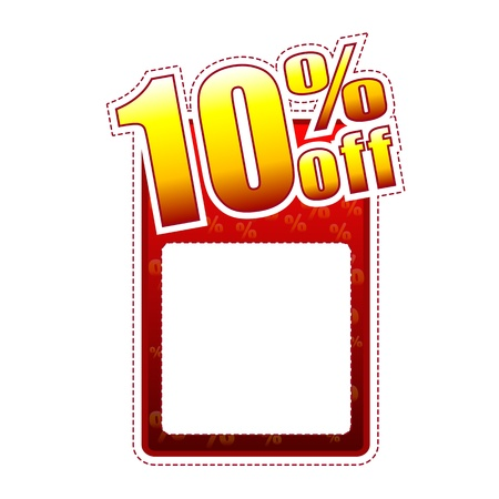 ten percentage off - red and yellow label with text space and rate sign, sale concept photo