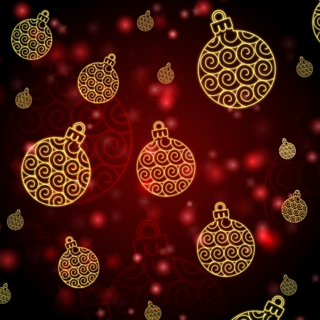 christmas motif: abstract red background with golden balls, christmas card