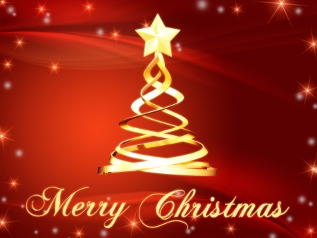 Merry Christmas and christmas tree over red background with golden stars photo
