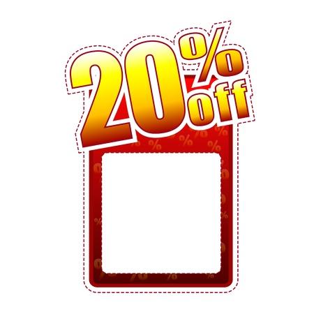 이십 퍼센트 오프 - 텍스트 공간 및 속도 기호, 판매 개념 빨간색과 노란색 레이블