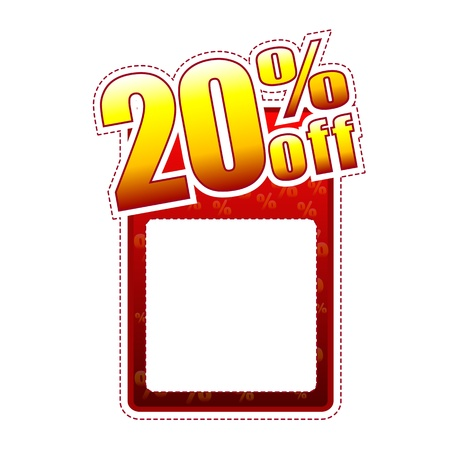 discount banner: twenty percentage off - red and yellow label with text space and rate sign, sale concept