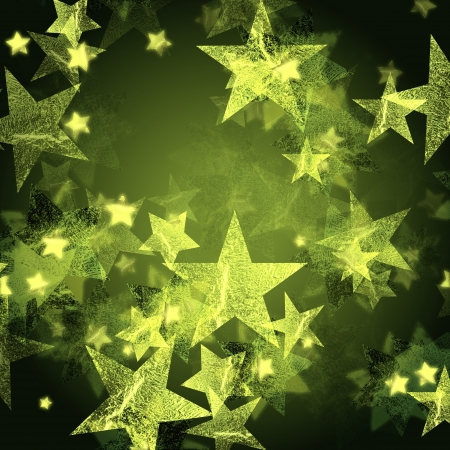 evening glow: shining green stars over dark background, abstract christmas card Stock Photo