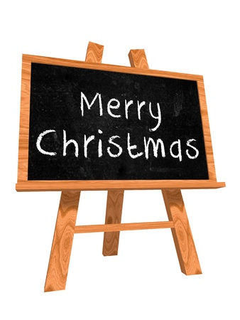 3d isolated blackboard with easel with chalk text - Merry Christmas photo