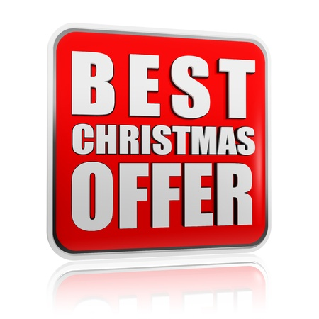 selling off: best christmas offer 3d red banner with white text, business concept