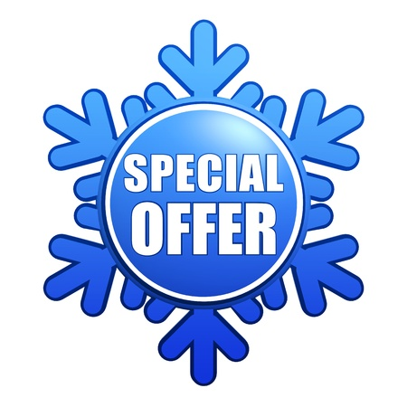 text special offer - advertising label with snowflake like badge, winter concept Stock Photo - 16229078