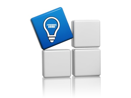 develop: 3d blue cube with idea symbol like light bulb icon on grey boxes