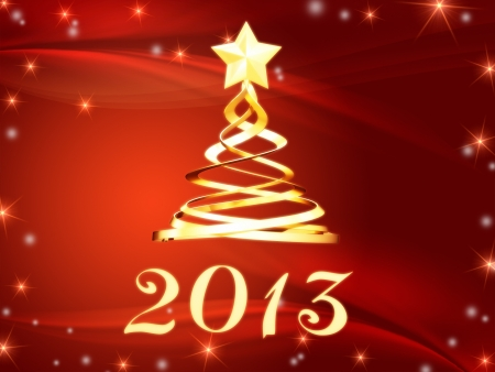 year 2013 and christmas tree over red background with golden stars photo
