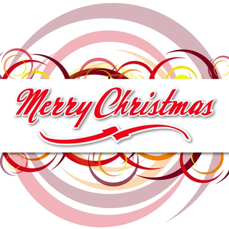 abstract card with illustrated coloured circles and text Merry Christmas photo