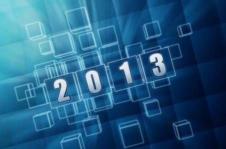 turns of the year: texto del a�o 2013 en 3d cajas de vidrio azul con figuras blancas como sistemas de cifrado Foto de archivo