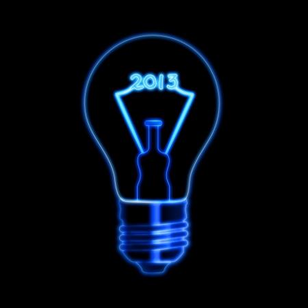 빛나는 필라멘트 암호와 전구 검정 배경 위에 2013 년을 만든다
