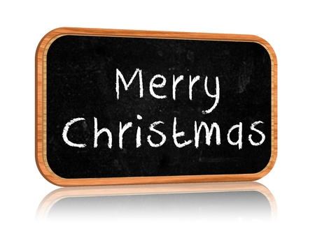 hand-written with chalk text - Merry Christmas on blackboard banner photo