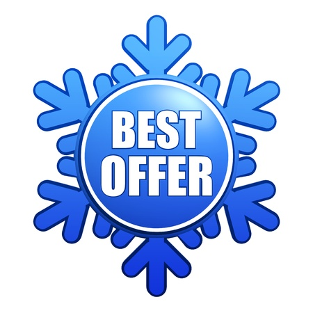 text best offer - advertising label with snowflake like badge, winter concept Stock Photo - 16428547