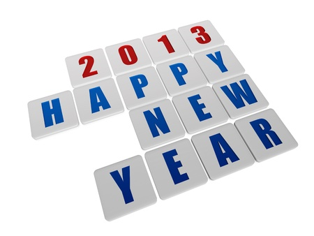 twelfth night: text happy new year 2013 in 3d white tablets with blue and red figures like ciphers and letters