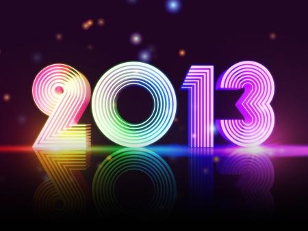 year 2013 in 3d rainbow colored figures, disco number Standard-Bild