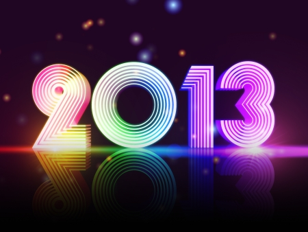 solemn: year 2013 in 3d rainbow colored figures, disco number Stock Photo