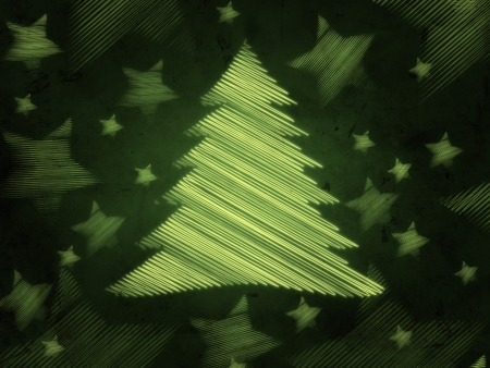 green background with illustrated christmas tree and stars, abstract retro card photo
