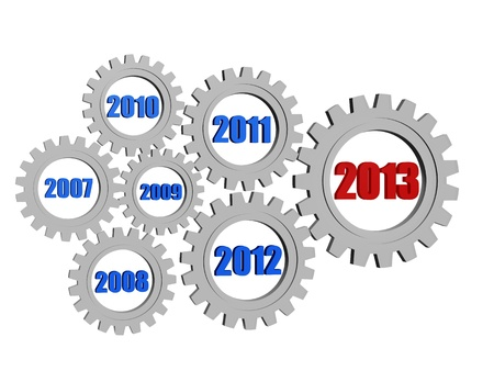 precedent: 3d silver grey gearwheels with colored figures, business concept - new year 2013 and previous years Stock Photo