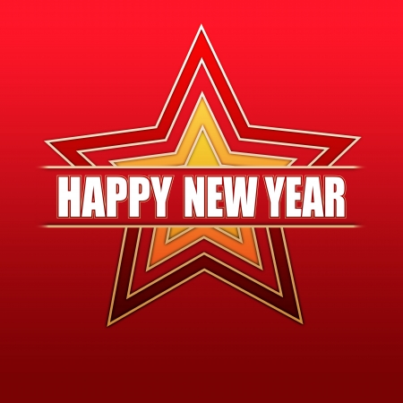twelfth night: white text Happy New Year in gradient colored stars over red background